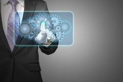 La forme de nuage de contact d'homme d'affaires a rempli d'icône de vitesses dans l'espace FO Photos libres de droits