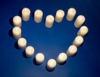 La forme du coeur des bougies Images stock