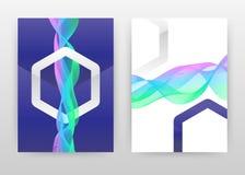 La forme grise géométrique d'hexagone avec vert pourpre coloré a ondulé des lignes brochure de texture, insecte, affiche Lignes o illustration libre de droits