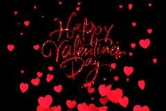 La forme heureuse de mot de Saint Valentin de scintillement rouge d'étincelle avec rouge chauffe la hausse de forme circulant sur illustration de vecteur
