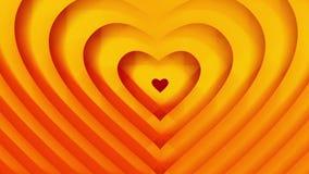 La forme orange d'or de coeurs se développe Animation sans couture de boucle Amour de jour de valentines et concept de mariage illustration stock