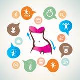 La forme physique et le corps s'inquiètent l'infographics, collection d'icônes Photo stock