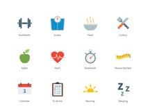 La forme physique et le sport colorent des icônes sur le fond blanc Photo libre de droits