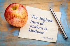 La forme la plus élevée de sagesse est gentillesse photos libres de droits
