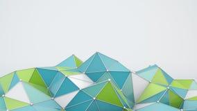 La forme polygonale bleue et verte 3D rendent Image libre de droits