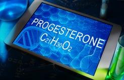 La formule chimique de la progestérone Image libre de droits