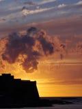 La fortaleza de Algajola en la oscuridad Fotografía de archivo libre de regalías