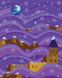 La fortaleza en púrpura agita noche nevosa Fotografía de archivo