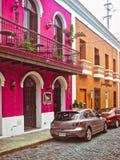 La Fortaleza - street scene - coloful buildings in Old San Juan royalty free stock photo