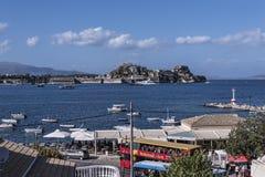 La fortaleza veneciana vieja en la ciudad de Corfú en la isla griega de Corfú Fotografía de archivo libre de regalías