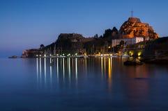 La fortaleza vieja de Corfú en Corfú, Grecia Imagenes de archivo