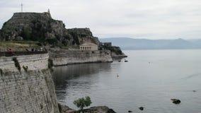 La fortaleza vieja y la iglesia de San Jorge, Corfú Fotos de archivo libres de regalías