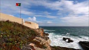 La fortaleza y el océano almacen de metraje de vídeo