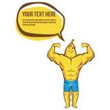 La forte banana di forma fisica mostra il bicipite Illustrazione e logo di sport illustrazione di stock
