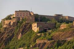La forteresse d'Ehrenbreitstein, Coblence, Allemagne s'est baignée dans la lumière d'après-midi Images stock