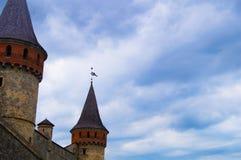 La forteresse dans la vieille ville Kamenetz-Podolsk en Ukraine image stock