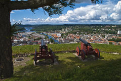 La forteresse de Fredriksten halden dedans (les vieux canons) Photographie stock