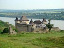 La forteresse de Khotyn, province de Chernivtsi Oblast de l'Ukraine occidentale Photos stock