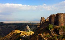 La forteresse et l'église d'Amberd en Arménie Photo libre de droits