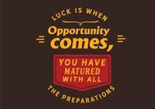La fortuna è quando l'opportunità viene royalty illustrazione gratis