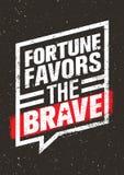 La fortuna favorisce la citazione creativa d'ispirazione coraggiosa di motivazione Concetto di progetto dell'insegna di tipografi illustrazione di stock
