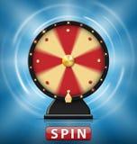 La fortune 3d de rotation réaliste roulent avec le bouton de rotation Roue de la fortune avec des lampes à lueur pour le casino e Photographie stock libre de droits