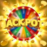 La fortune 3d de rotation réaliste roulent avec piloter les pièces de monnaie d'or Roulette chanceuse Photos libres de droits
