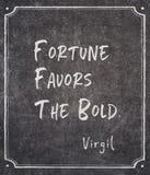 La fortune favorise la citation de Virgil photographie stock