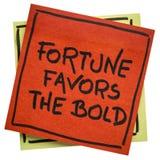 La fortune favorise le slogan inspiré audacieux image stock