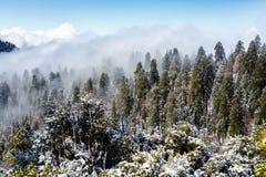 La foschia ed il movimento strisciante della neve sul lato della montagna come il pomeriggio progredisce, nascondendo le cime deg Fotografie Stock Libere da Diritti
