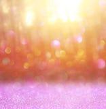 La foto abstracta de la explosión de la luz entre árboles y bokeh del brillo se enciende se empaña y se filtra la imagen Foto de archivo