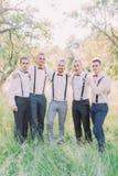 La foto amistosa del grupo del novio y de los mejores hombres del bosque verde del verano fotos de archivo libres de regalías