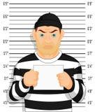 La foto criminal cogió soportes criminales al lado de la pared con número a disposición libre illustration