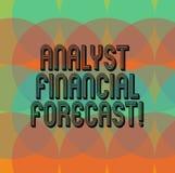 La foto de Financial Forecast Conceptual del analista de la demostración de la muestra del texto estima los resultados financiero stock de ilustración