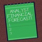 La foto de Financial Forecast Conceptual del analista de la demostración de la muestra del texto estima los resultados financiero ilustración del vector