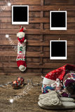 La foto de la Navidad enmarca las postales Imagen de archivo