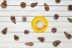 La foto de la taza de café amarilla cerca secó conos hermosos en Foto de archivo