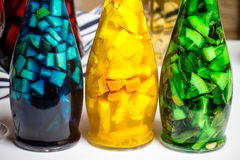 La foto del primo piano, frutta luminosa di colore paited la limonata, bordo bianco Immagine Stock Libera da Diritti