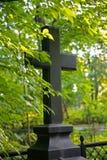 La foto della pietra nera dell'incrocio cristiano su un fondo della pianta abbondante soleggiata di Forest Park degli alberi, deg Fotografie Stock Libere da Diritti
