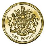 Moneta di libbra britannica dell'oro della menta con il percorso di residuo della potatura meccanica Fotografia Stock