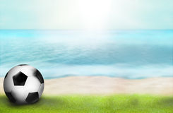 La foto di paradiso della spiaggia di tempo di calcio e 3D rendono il fondo Fotografia Stock Libera da Diritti