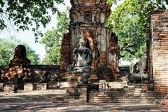 La foto orizzontale della statua di Buddha nella meditazione Immagine Stock