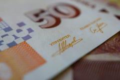 La foto representa el billete de banco búlgaro de la moneda, 50 levs, BGN, clo Imagen de archivo libre de regalías
