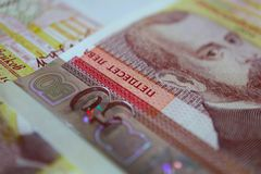 La foto representa el billete de banco búlgaro de la moneda, 50 levs, BGN, clo Fotos de archivo libres de regalías