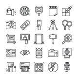 La fotografía y los gráficos alinean el sistema de los iconos ilustración del vector