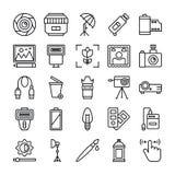 La fotografia ed i grafici allineano le icone di vettore imballano illustrazione vettoriale