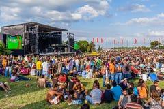 La foule à un concert dans le Festa font le festival d'Avante, l'événement Politique-culturel le plus important au Portugal Images libres de droits