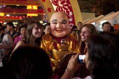 La foule dans la célébration chinoise d'an neuf Images stock