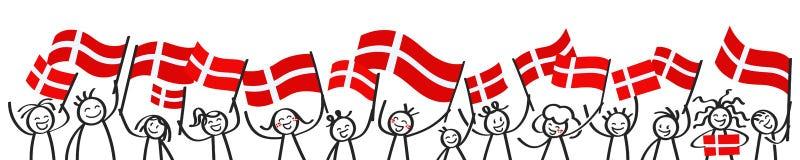 La foule encourageante du bâton heureux figure avec les drapeaux nationaux danois, défenseurs de sourire du Danemark, fans de spo illustration stock