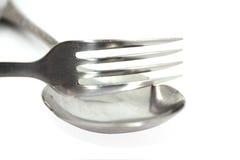 La fourchette avec la cuillère Photos libres de droits
